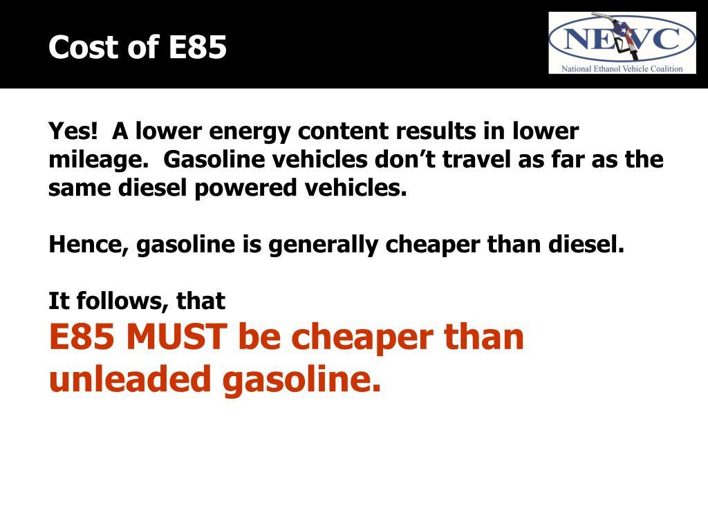 Cost of E85