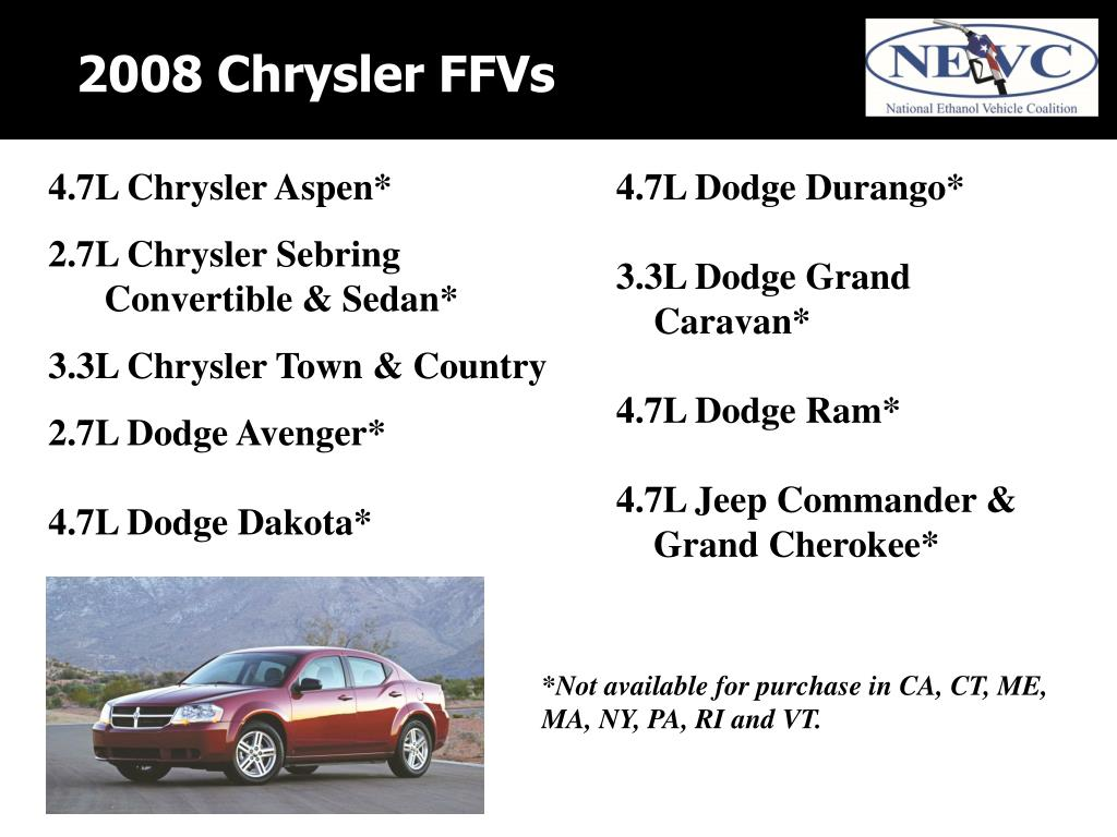 2008 Chrysler FFVs