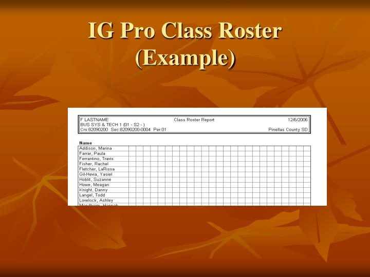 IG Pro Class Roster