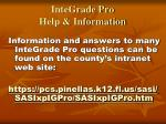 integrade pro help information