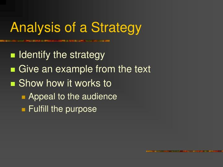 Analysis of a Strategy