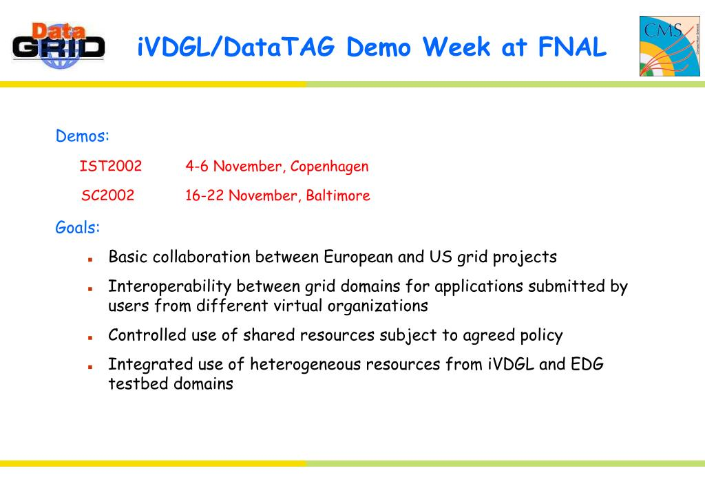 iVDGL/DataTAG Demo Week at FNAL