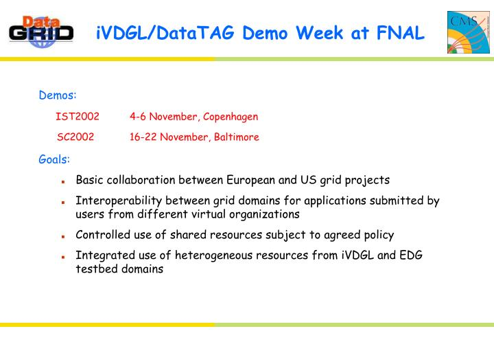 Ivdgl datatag demo week at fnal