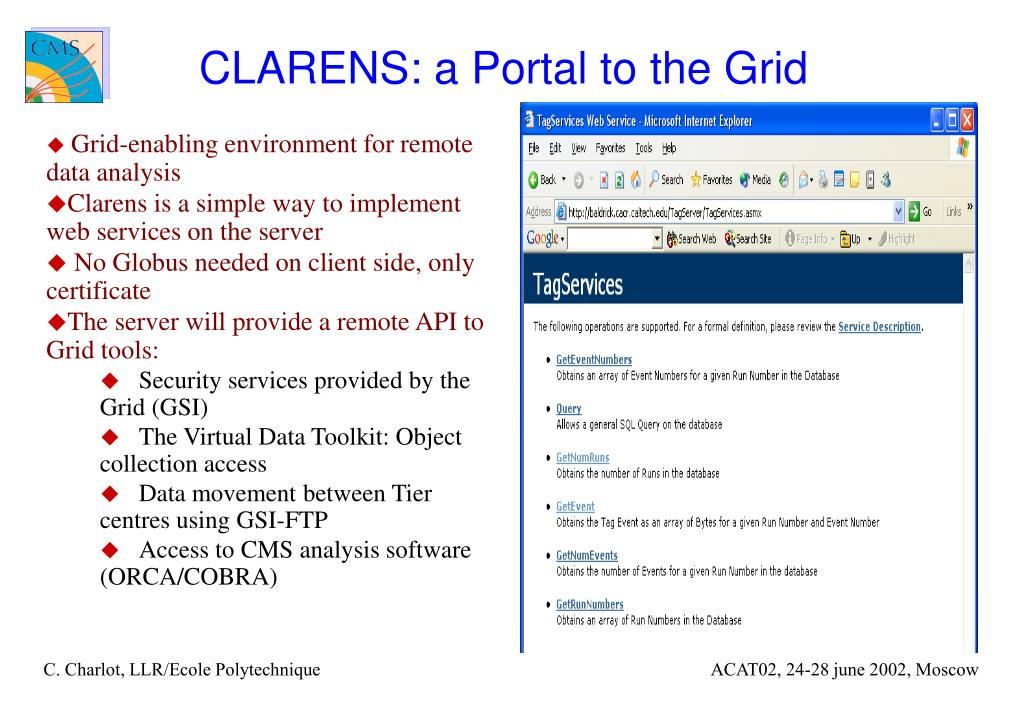 CLARENS: a Portal to the Grid
