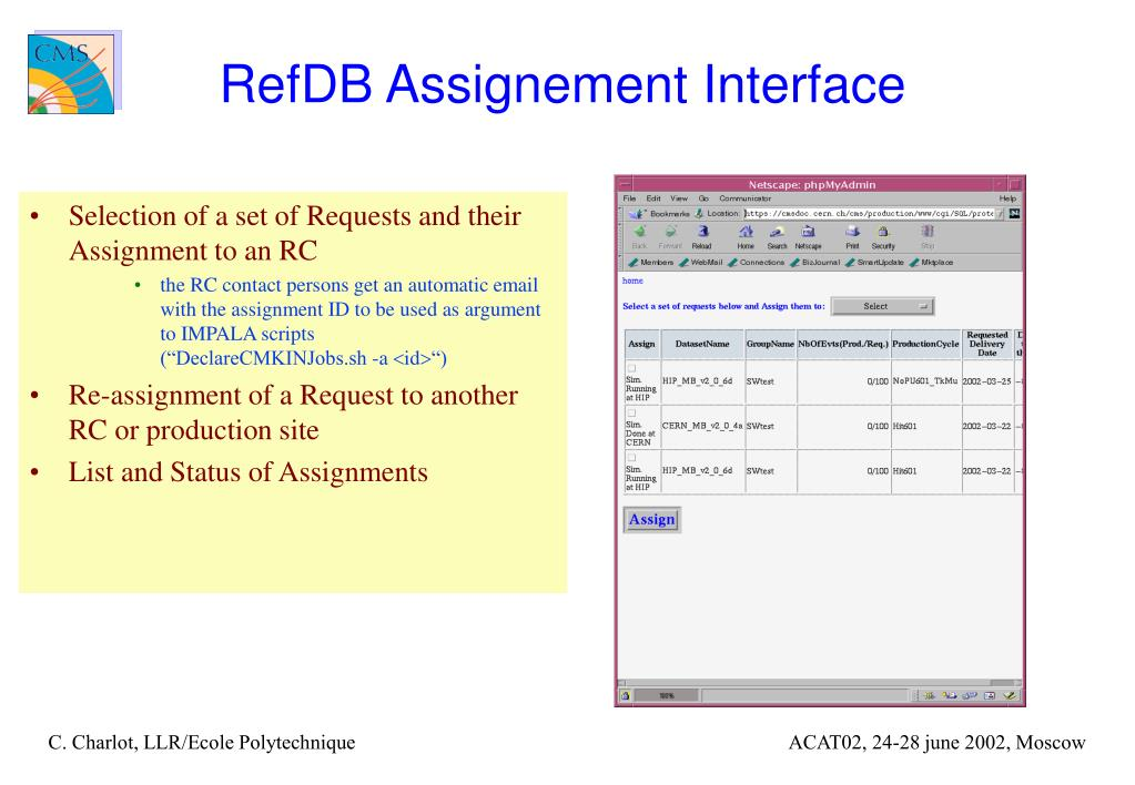 RefDB Assignement Interface