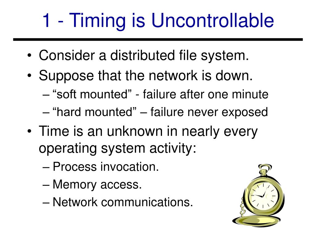 1 - Timing is Uncontrollable