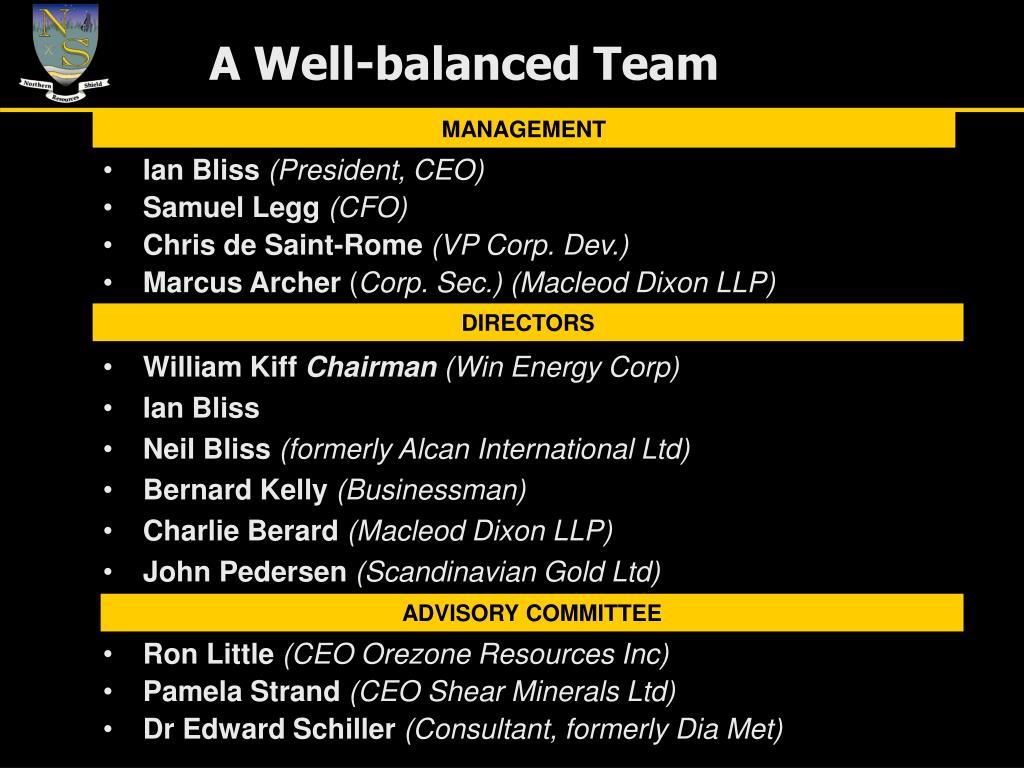 A Well-balanced Team