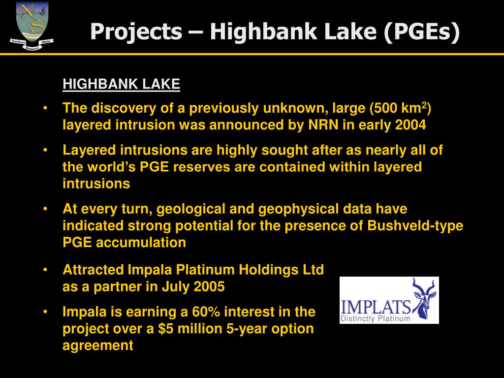 Projects – Highbank Lake (PGEs)