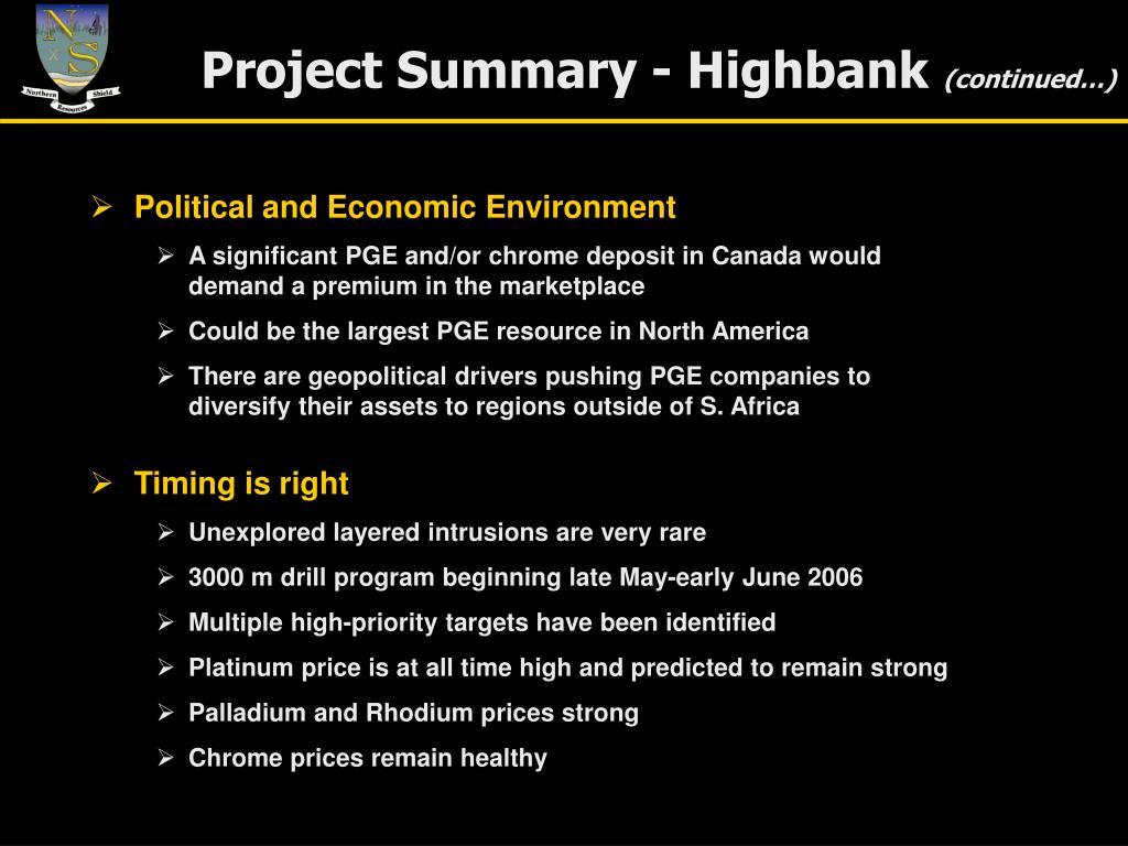Project Summary - Highbank