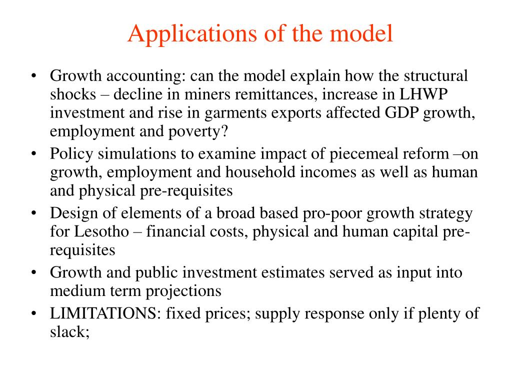 Applications of the model