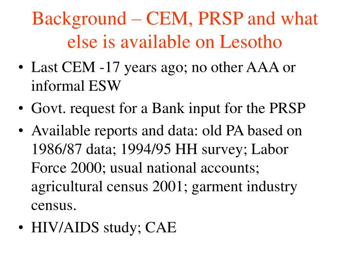 Background cem prsp and what else is available on lesotho
