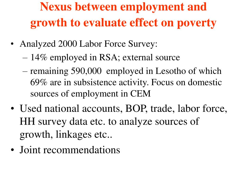 Nexus between employment and  growth to evaluate effect on poverty
