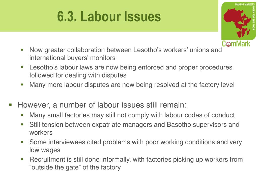 Now greater collaboration between Lesotho's workers' unions and international buyers' monitors