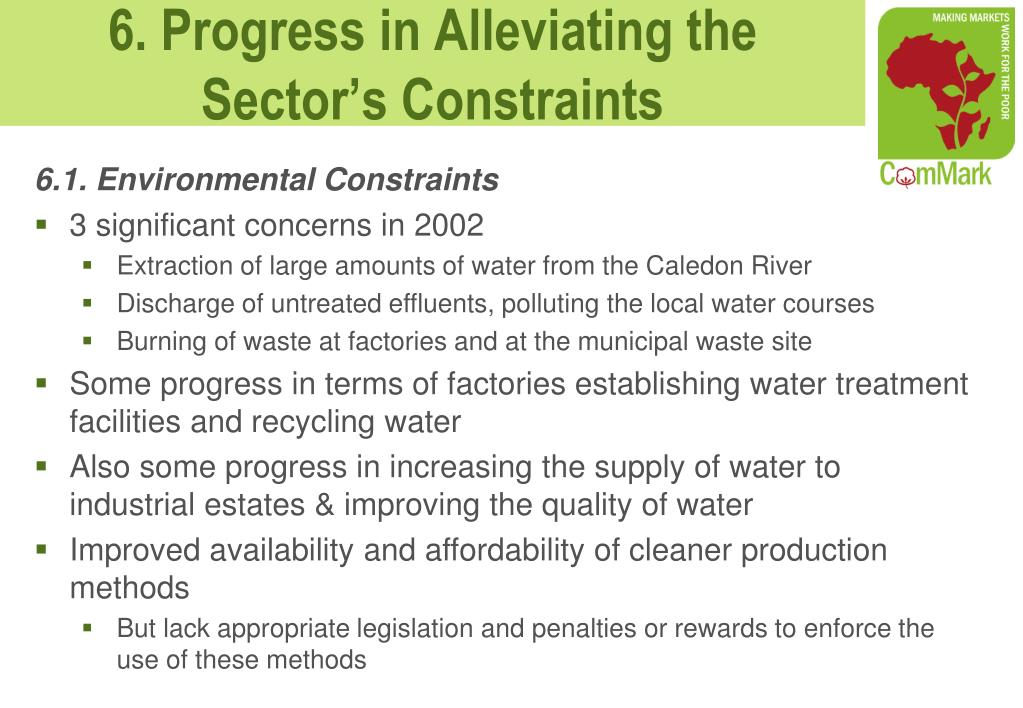 6.1. Environmental Constraints