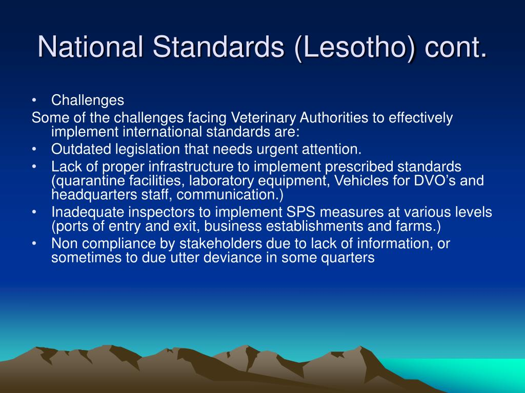 National Standards (Lesotho) cont.
