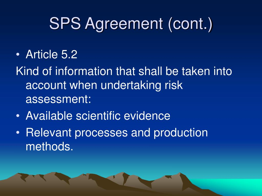 SPS Agreement (cont.)