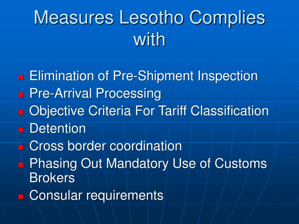Measures Lesotho Complies with