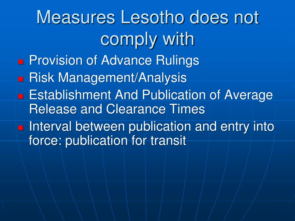 Measures Lesotho does not comply with