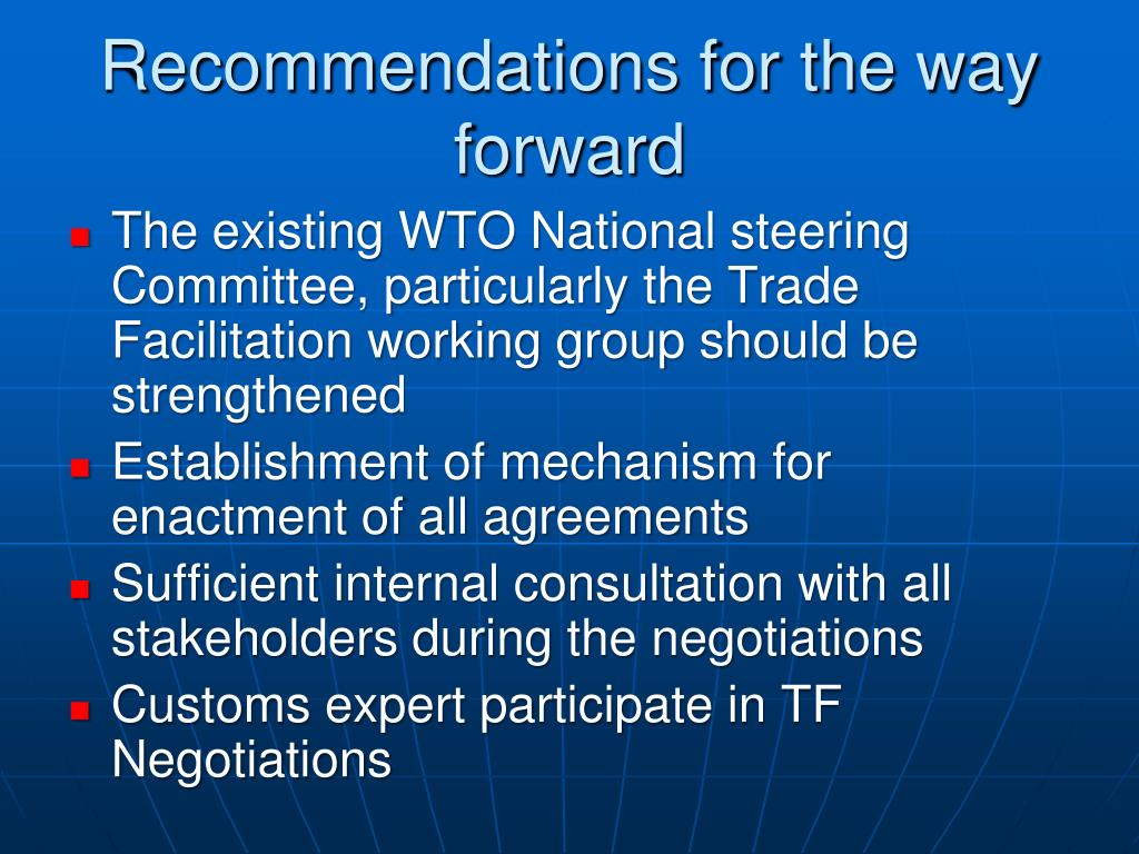 Recommendations for the way forward
