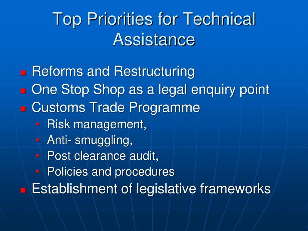 Top Priorities for Technical Assistance