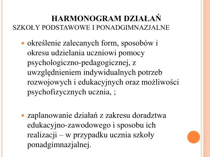 HARMONOGRAM DZIAŁAŃ