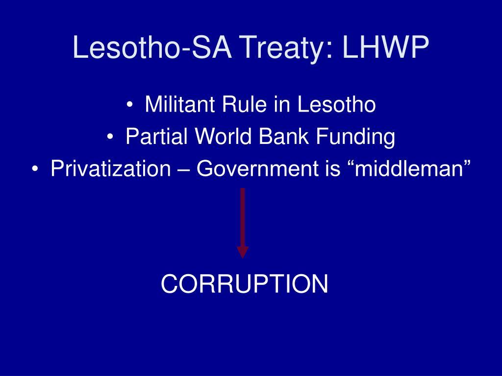 Lesotho-SA Treaty: LHWP