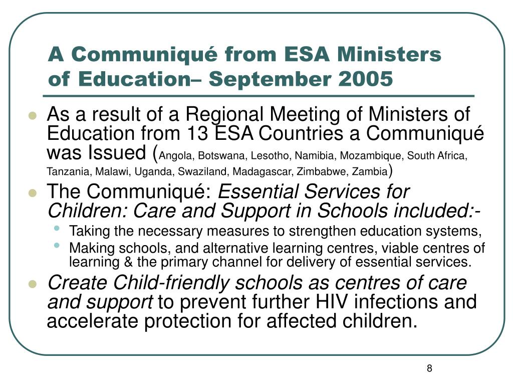 A Communiqué from ESA Ministers of Education– September 2005