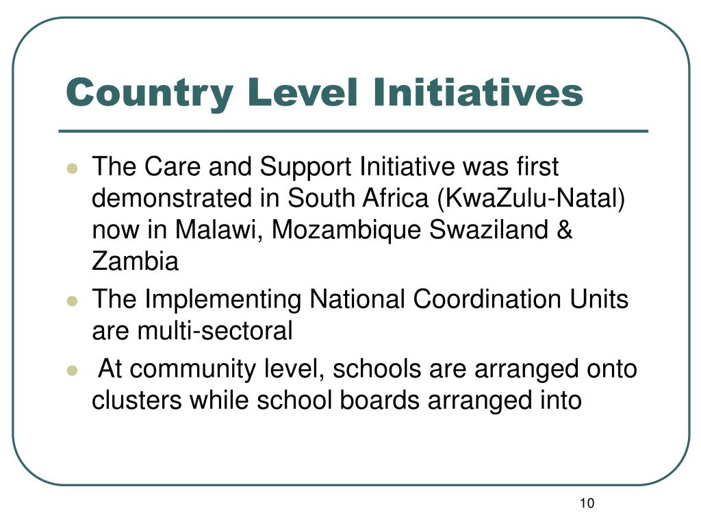 Country Level Initiatives