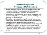 partnerships and resource mobilisation
