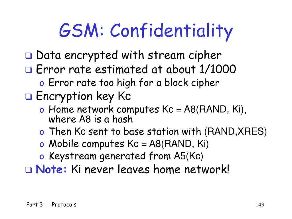 GSM: Confidentiality