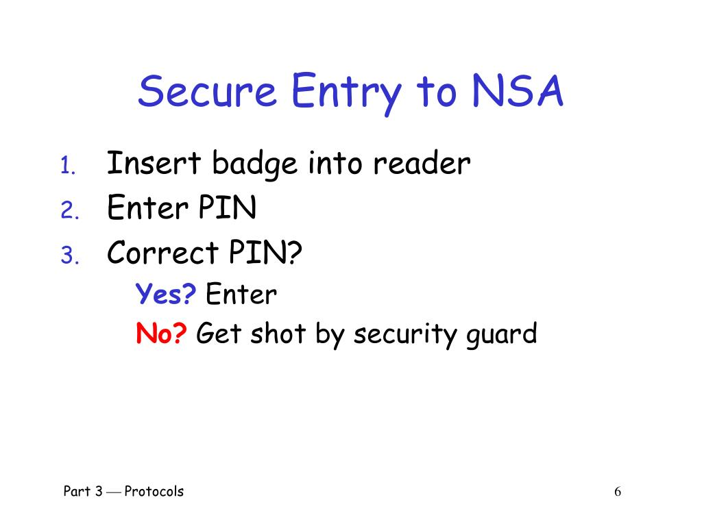 Secure Entry to NSA