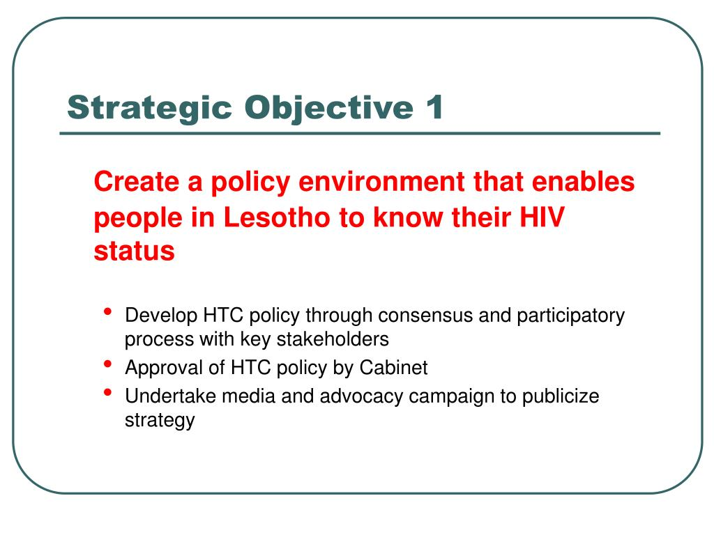 Strategic Objective 1