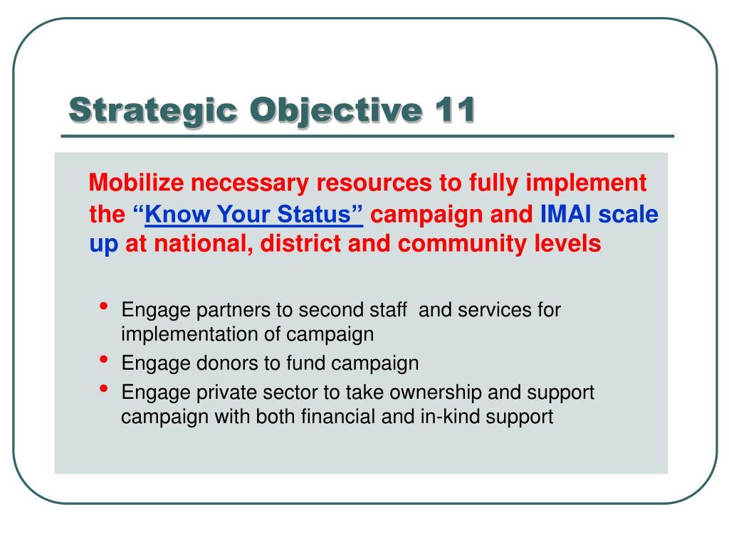 Strategic Objective 11