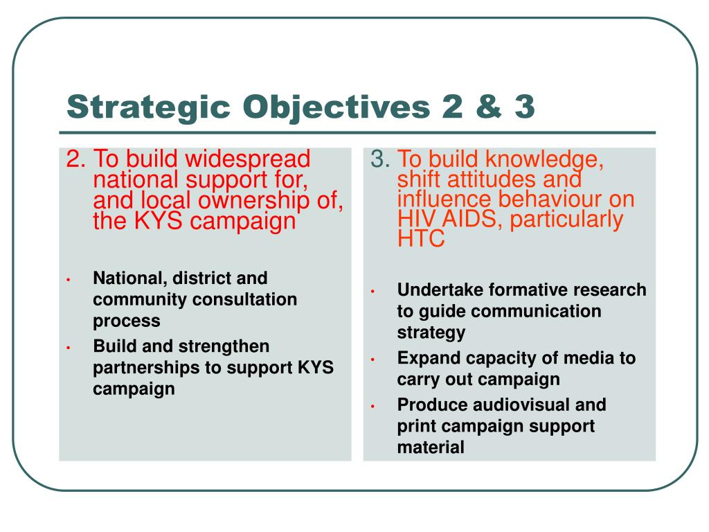 2. To build widespread national support for, and local ownership of, the KYS campaign