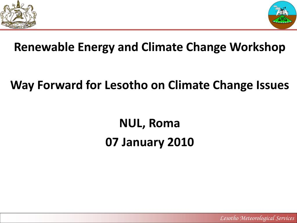 Renewable Energy and Climate Change Workshop