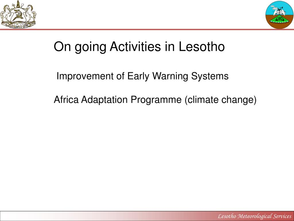 On going Activities in Lesotho