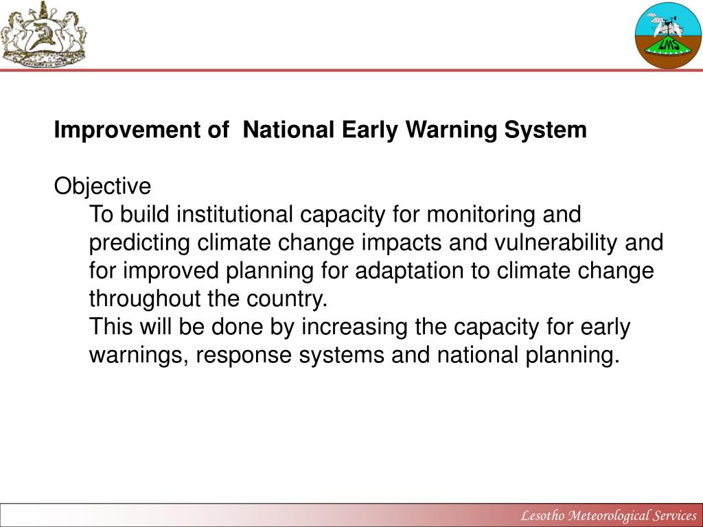 Improvement of  National Early Warning System