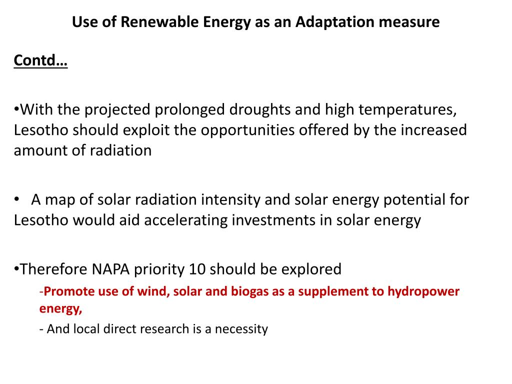 Use of Renewable Energy as an Adaptation measure