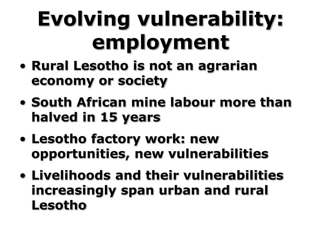 Evolving vulnerability: employment