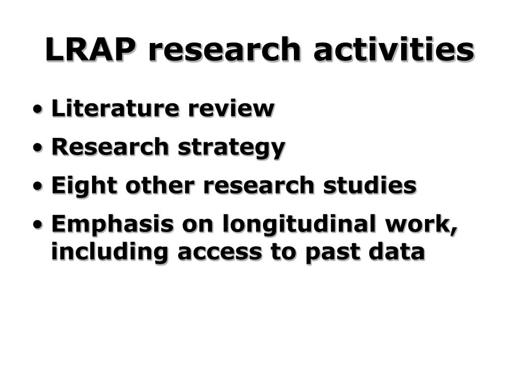 LRAP research activities