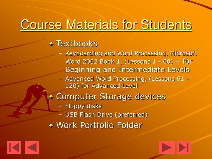 Course materials for students