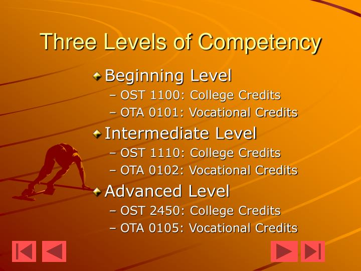 Three levels of competency