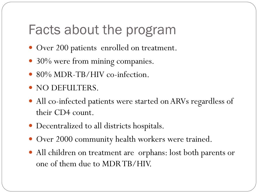 Facts about the program