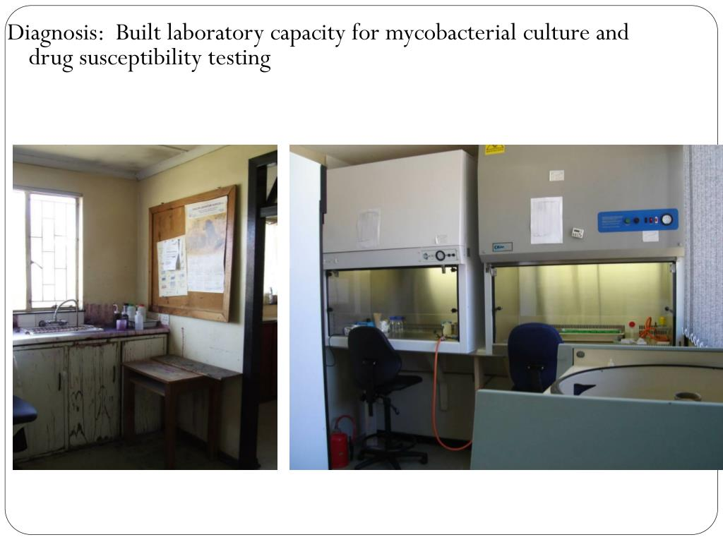 Diagnosis:  Built laboratory capacity for mycobacterial culture and drug susceptibility testing