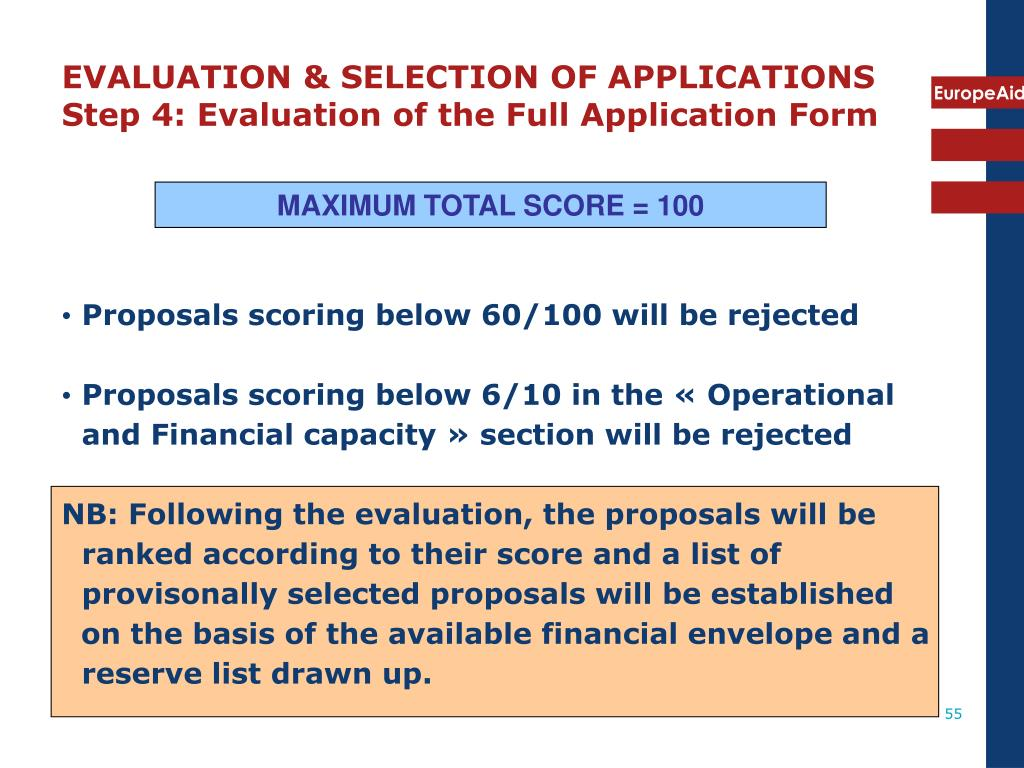 EVALUATION & SELECTION OF APPLICATIONS