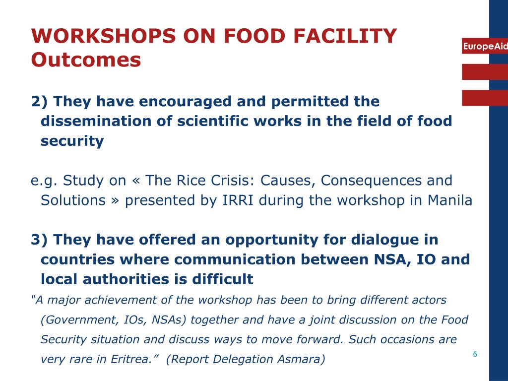 WORKSHOPS ON FOOD FACILITY