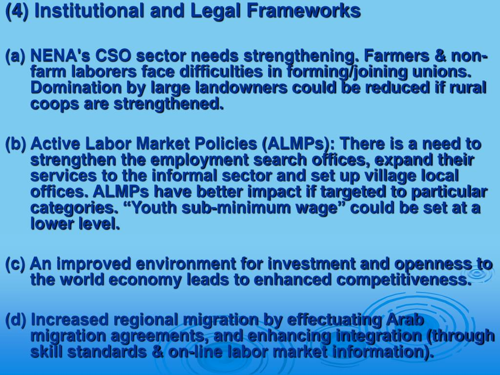 (4) Institutional and Legal Frameworks
