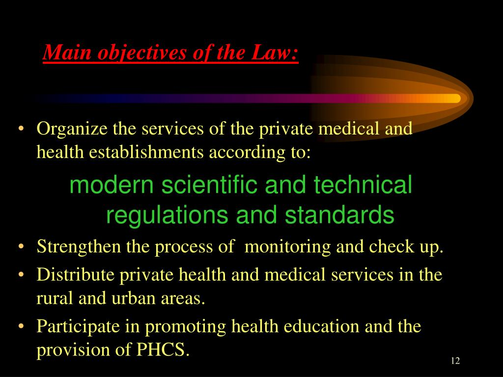 Main objectives of the Law: