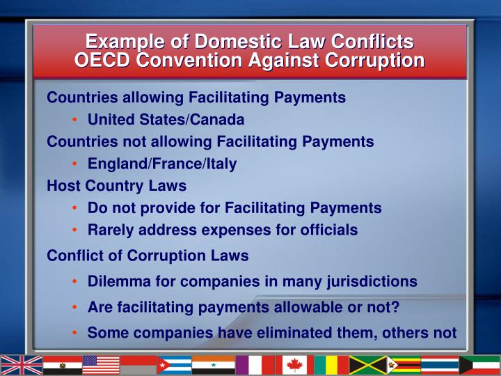 Example of domestic law conflicts oecd convention against corruption l.jpg