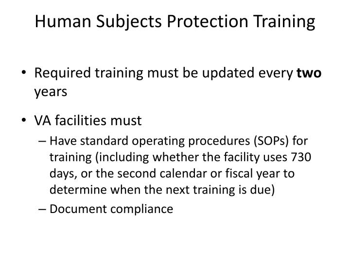 Human Subjects Protection Training
